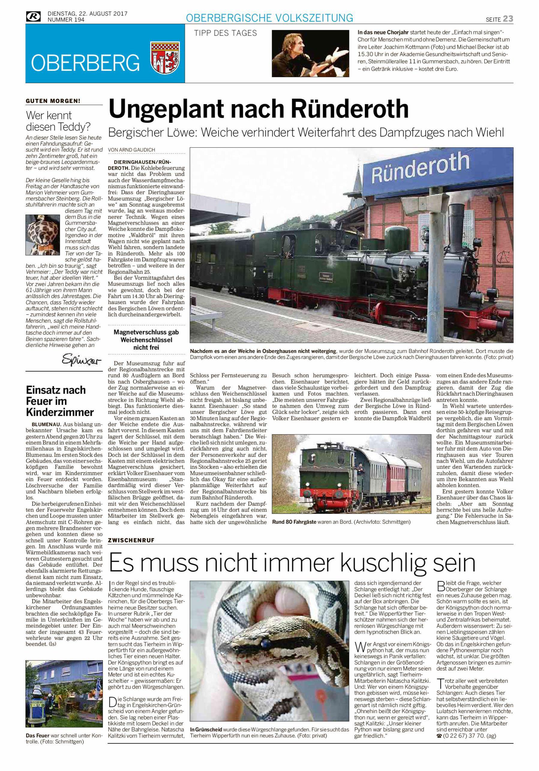 Ungeplant nach Ründeroth – Rundschau August 17