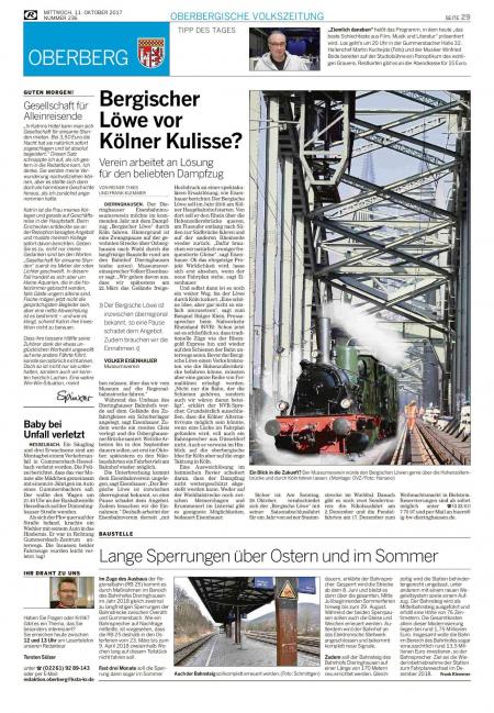 Bergischer Löwe vor Kölner Kulisse? – Rundschau Oktober 17
