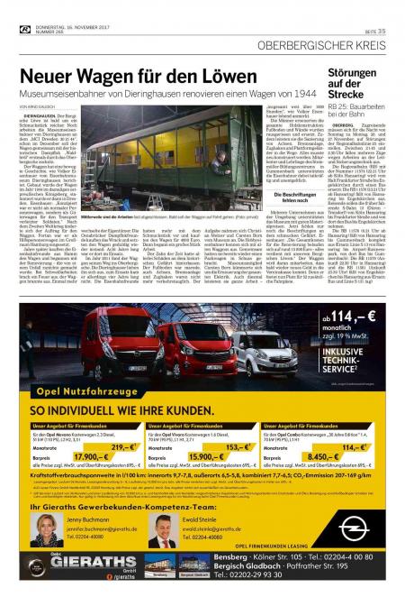 Neuer Wagen für den Löwen – Rundschau November 17