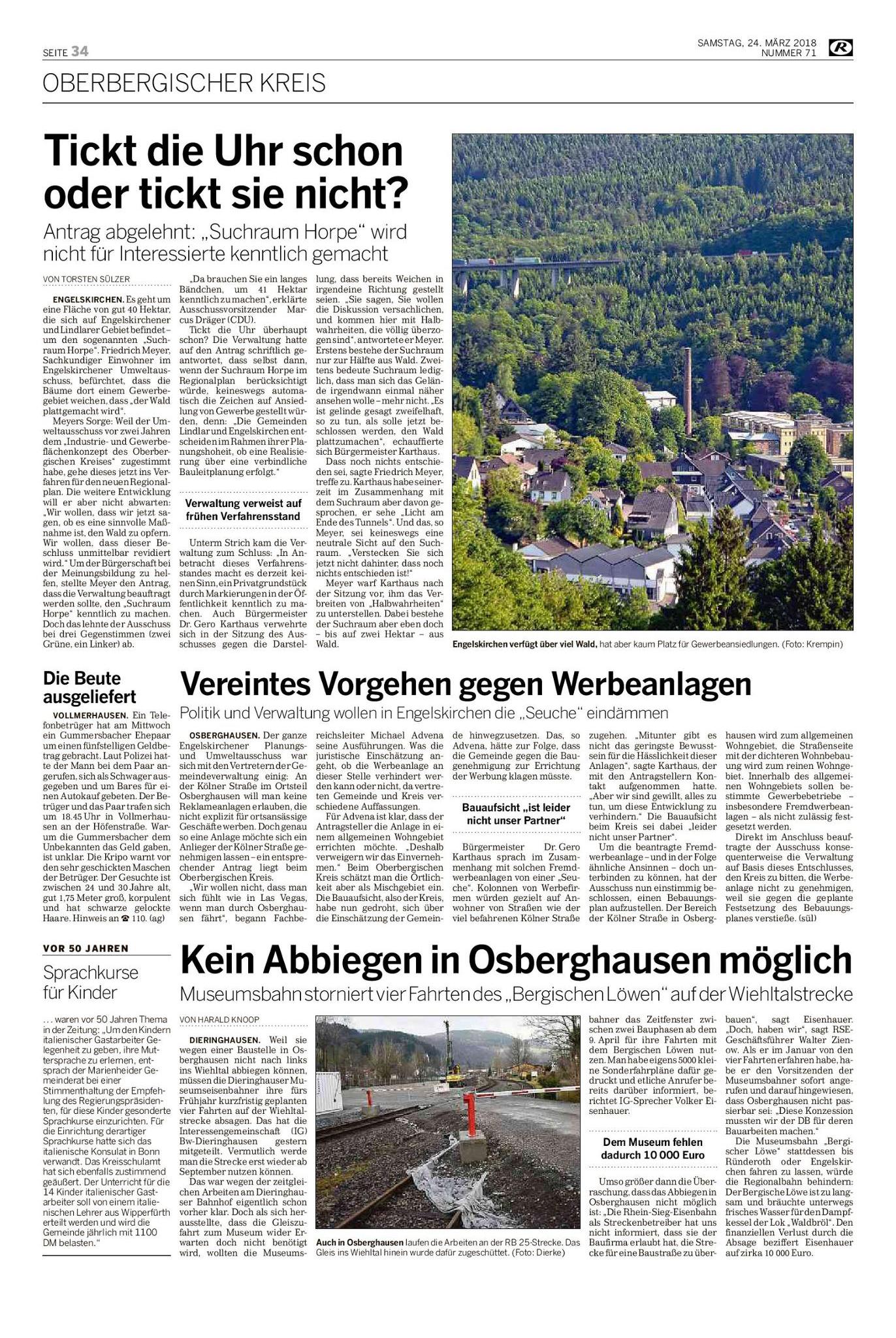 Kein Abbiegen in Osberghausen möglich – Rundschau März 2018