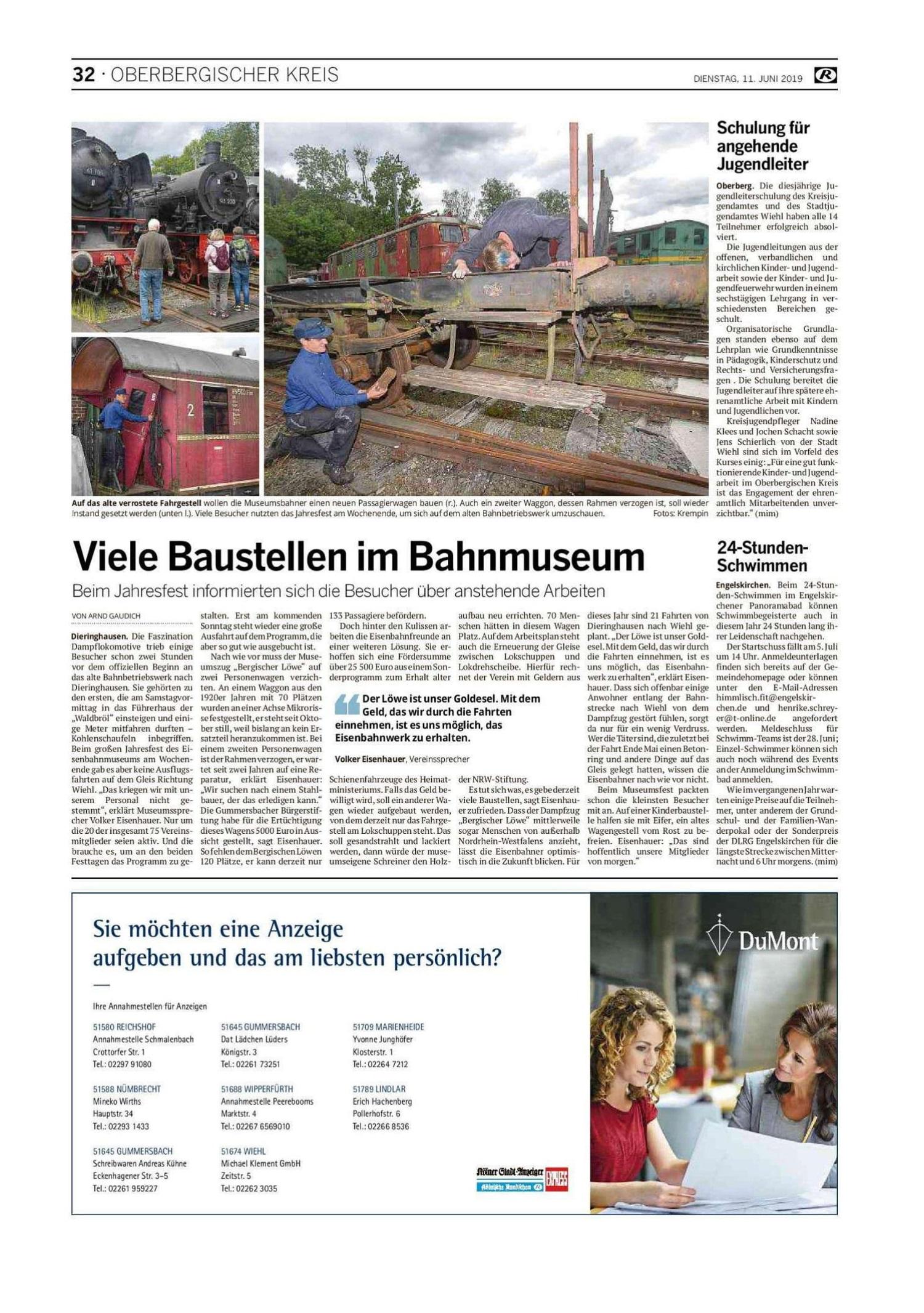 Viele Baustellen im Bahnmuseum