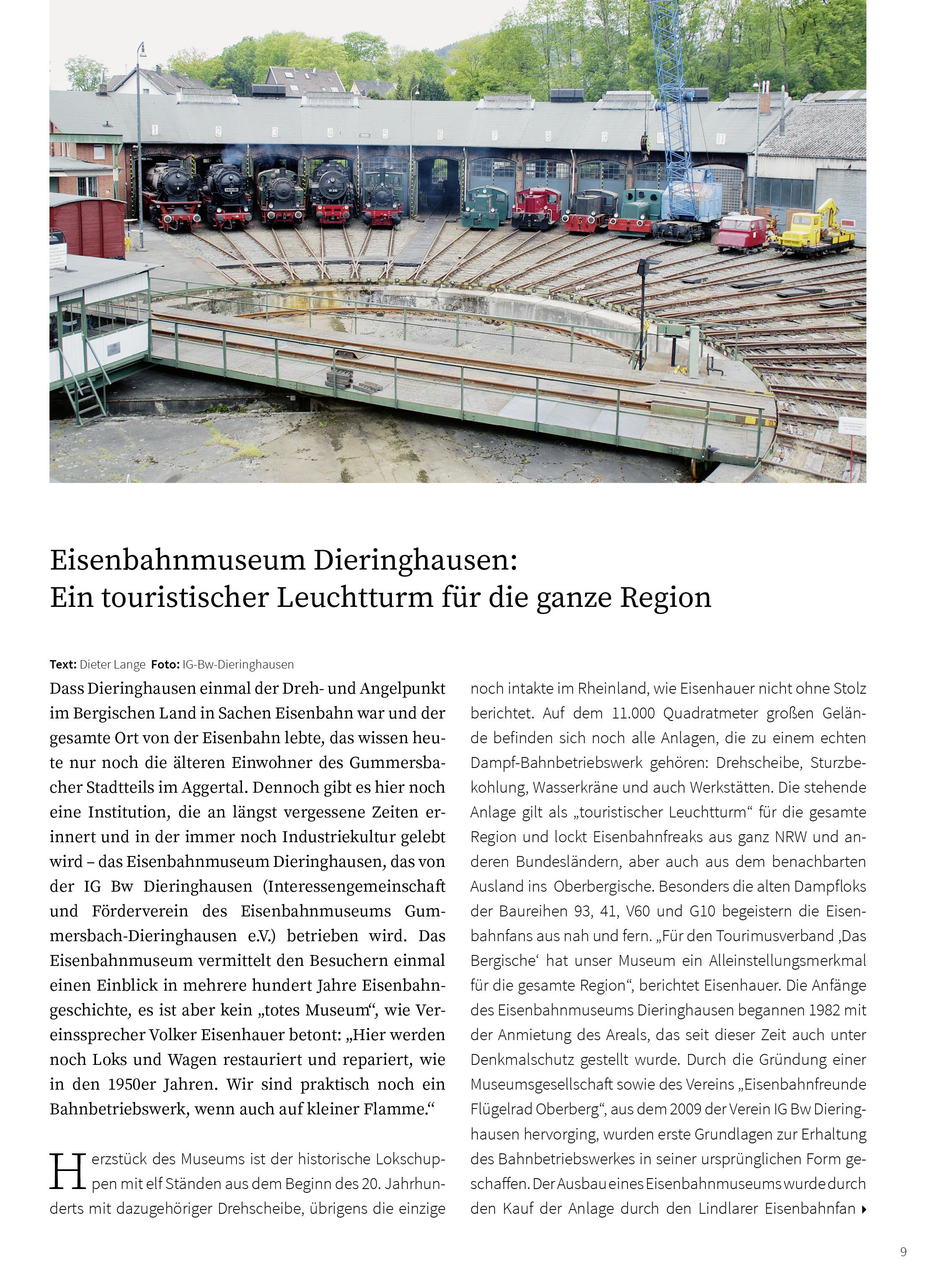 Eisenbahnmuseum Dieringhausen: ein touristischer Leuchtturm für die ganze Region