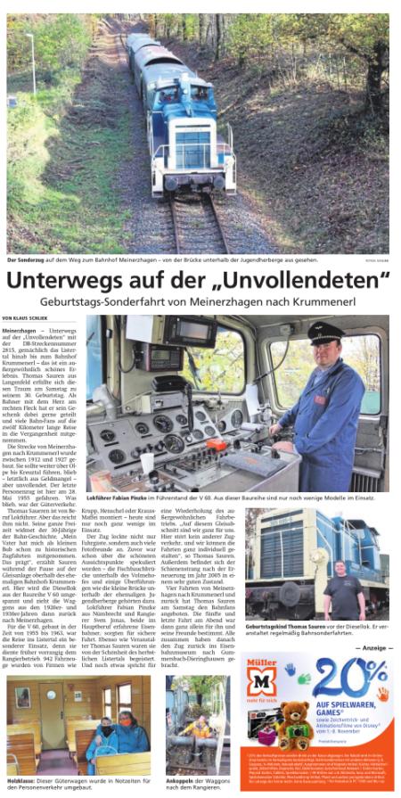 """Unterwegs auf der """"Unvollendeten"""" Geburtstags-Sonderfahrt von Meinerzhagen nach Krummenerl"""